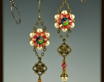 Beaded, Bead-woven, Beadwork, Swarovski Crystal Rivoli Earrings