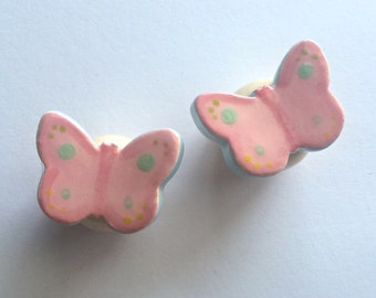 Pair of Two Ceramic Butterfly Knobs, Drawer Pulls, Set of 2