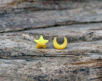 Extra Tiny Moon and Star Earring Star Stud in solid Gold Crescent Moon Post Earring Star Crescent Moon Jewelry Rose Gold Moon christmas gift