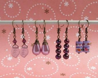 Clearance 4 Pairs Earrings Set - Purple Leaf Swarovski Crystal, Orchid Drop, Plum Freshwater Pearl, Lilac Purple