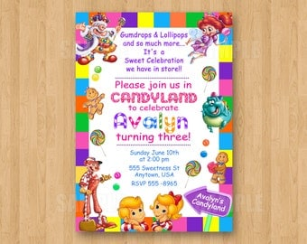Candyland Candy Theme Girl Birthday Party Personalized Invitation Digital File