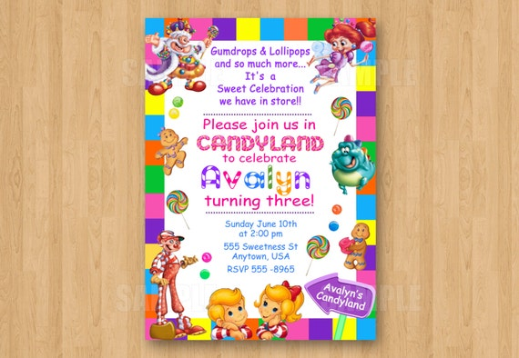10 PRINTED Candyland Invitations with Envelopes Candy Theme