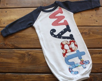 Personalized Newborn Gown Boy, Hospital Going Home Outfit, Baby Boy Gift, Baseball Theme Baby Shower Gift, Newborn Outfit, Top Knot Baby Hat