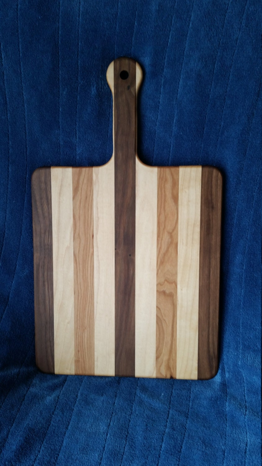 Wooden Walnut Maple And Cherry Handle Cutting Board