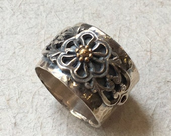 Bohemian ring, floral ring, flowers ring, simple band, Sterling silver gold band, wide band, floral band, boho ring - A special day R2385