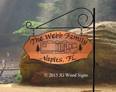 Motorhome Camping Sign  with pine trees - Custom Carved Cedar Family Name Sign - Includes Round Garden Holder