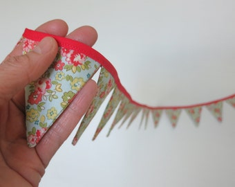 Miniature Pennant Banner Flag Garland Bunting Wall Decor, Cotton Fabric, Light Blue with Tiny Flowers