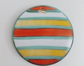 Mid Century Raymor Bitossi  Ceramic Wall Plaque sculpture / 1950s Modernist striped Ceramic art Wall hanging