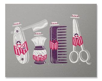 Barbershop Quartet Art Print / Mens Grooming Print / Movember Print / Shaving Wall Art / Gentleman Print / Home Decor / 8 x 10