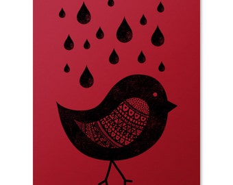 Bird Art Print / Rain Drops Print / Animal Print / Cute Bird Wall Art / Pattern Print / Home Decor / 8 x 10