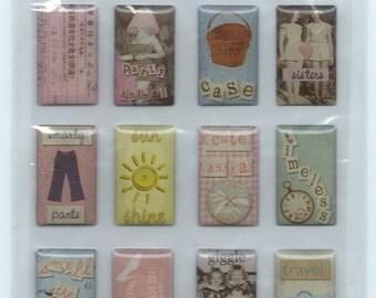 Provo Crafts Etcetera Jemz Epoxy Stickers - Photo Collage Pastels 2 #SC031