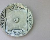 Ornate Incense Burner - ceramic incense burner in minty celadon