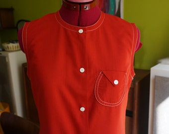 vintage red sleeveless dress white contrast stitching 1960 1970 60s 70s mod scooter