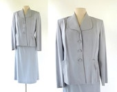 Vintage 40s Suit / Dove Gray / Women's Suit / 1940s Suit / M L