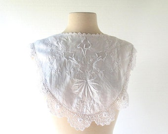 Vintage Edwardian Collar / Calla Lily / Embroidered Collar / Lace Dress Yoke