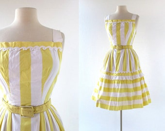 50s Vintage Dress | Lemon Chiffon | Striped Dress | 1950s Dress | XXS XS
