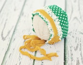 newborn polka dot bonnet // photo prop // baby photography // St. Patricks day prop  // baby bonnet // girl hat // lace // RTS