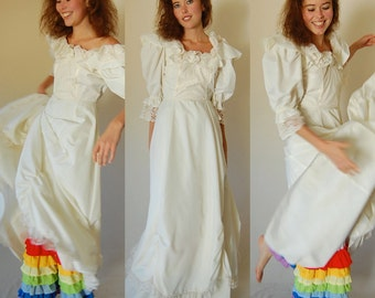 Boho Wedding Dress Vintage 70s Ivory Lace and Ruffles Boho Prairie Wedding Dress (s)