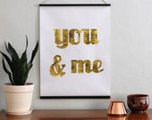 You & Me 18x24 Gold Foil Wall Hanging // Rustic Couple Wall Art // Gold Love Wall Art