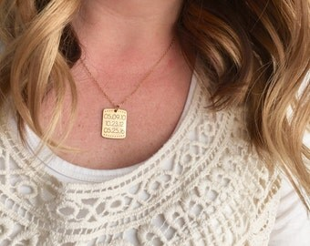 Engraved Date Necklace - Custom Personalized Date Necklace Coordinates Name Date Gold Necklace Stamped Mother Gift Initial Name