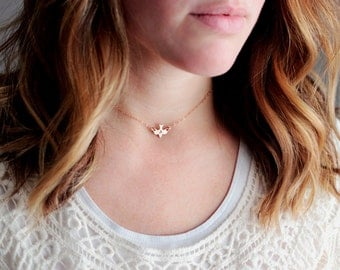 Dainty Choker Necklace - Personalized Choker Bird Charm Gift for Her Heart Necklace Chain Choker Bridesmaid Gift Name Necklace Initial