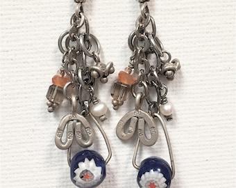 Charm Earrings, Silver Charm Earrings, Silver Dangle Earrings, Czech Glass, Pearls, Hill Tribe Silver, Artisan Earrings, OOAK Earrings