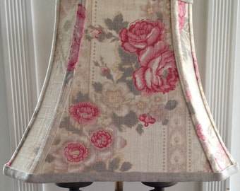 Linen Lamp Shade, Rectangle Lampshade French Vintage Fabric Raspberry Floral, 7x12x9.5 High, Washer Top, Handmade Fabulous Farmhouse Decor!