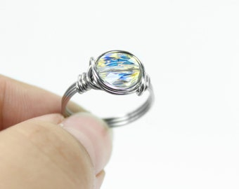 Crystal Promise Ring - Swarovski Ring - Stainless Steel - Wire Wrapped Ring - Crystal Stack Ring - Aurora Borealis - Custom Size - Stackable
