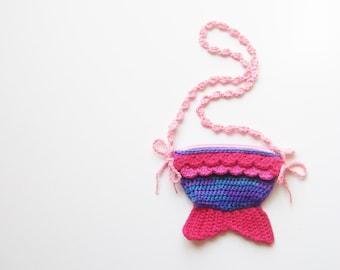 Pink Purple Mermaid Tail Zipper Bag - handmade cute kawaii fish kid little girl pretend play wristlet purse treasure hunt pouch photo prop