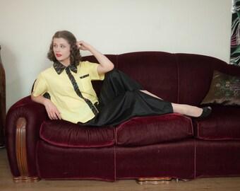 Vintage 1940s Pajamas - Black and Yellow Acetate Two Piece Pajama Set with Embroidered Trim