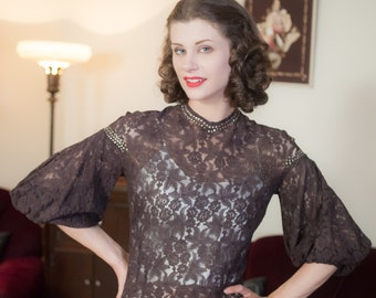 Vintage 1930s Blouse - Dramatic Sheer Brown Lace 30s Top with Billowing Balloon Sleeves and Rhinestone Studs
