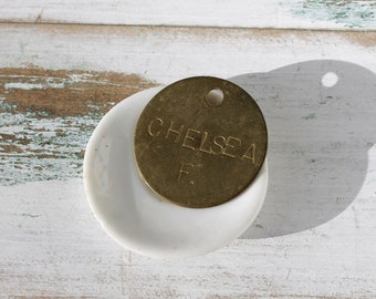 Vintage Chelsea Fair Key Tag, Brass Name Tag, Vintage Tags, Assemblage Supplies