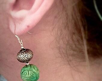 Aztec green turquoise & Thailand prakeaum silver earrings