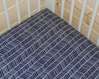 boy baby bedding-  navy crib sheet, mini crib sheet ,  navy changing pad cover-  dark blue herringbone- navy crib bedding