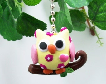 Owl Fan Pull Chain - Yellow, Fuschia, Pink - Owl Themed Nursery - Woodland Themed Room Decor