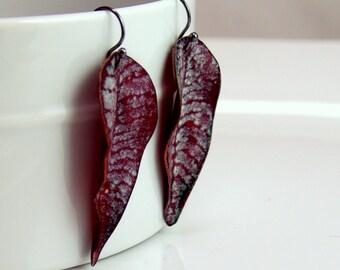 Copper Enamel Leaf Jewelry, Dark Ruby Pink Earrings With Pale Gray Details, OOAK Dangle Earrings, Vitreous Enameled Jewelry, WillOaksStudio