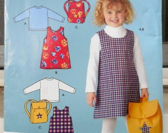 Simplicity 4441 - Cute Girls' or Toddlers' A-Line Dress, Top, Backpack - Perfect for Back To School - Size 3 4 5 6 7 8 - Mostly Uncut