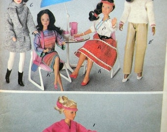 McCall's 627 / 8181 - Clothes for Barbie, Darci, Jem, & Other 11.5 Inch to 12.5 Inch Fashion Dolls - Vintage Pattern -1980s - UNCUT DIY