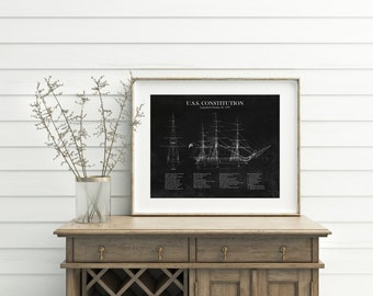 16 x 20 USS Constitution ship blueprint, sailing ship art, frigate blueprint, blueprint art, husband gift, nautical decor, nautical art
