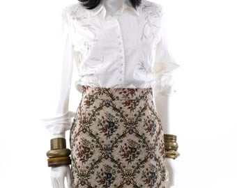Tapestry Skirt Victorian Floral Pattern Vintage High Waist Mini Skirt Size XS