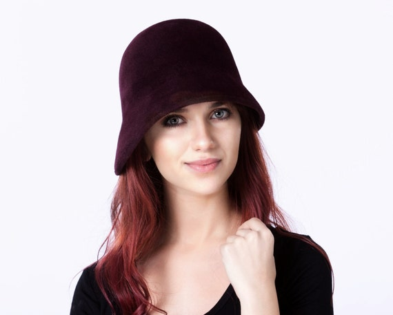 Oxblood Cloche Hat Women's Hat Spring Accessories 1920s Hat Spring Fashion Simple Cloche Hat Winter Burgundy Hat Felt Hat For Women Flapper