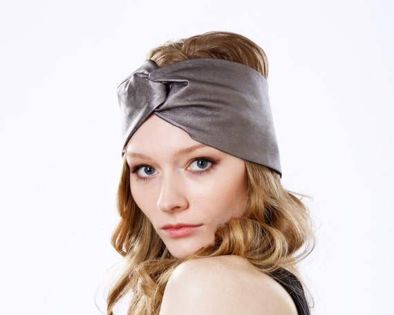 Leather Hair Accessory Turban Headband Earwarmer Fall Fashion Women's Hat Boho Chic Metallic Graphite Leather Headwrap Hairwrap