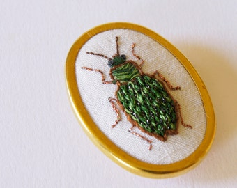 Embroidered Ground Beetle Brooch Carabidae Entomology Natural History Wildlife Art Modern Embroidery Insect Jewelry Nature Lover Gift