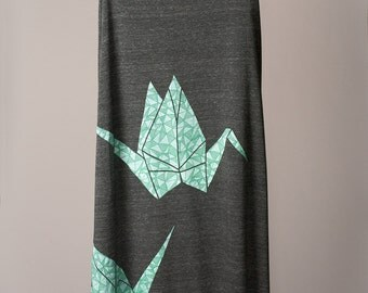 maxi skirt, long skirt, paper crane skirt, origami skirt, seafoam green and black