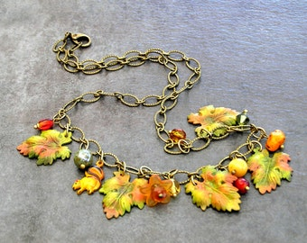 SALE Woodland Leaves Necklace, Leaf Charm Jewelry