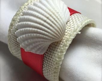Sea Shell Napkin Ring with Coral Ribbon- Beach Wedding - seashore - white ark clam