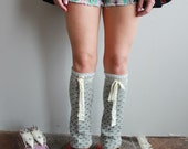 Wool and Lace Boho Upcycled Recycled Eco Friendly Sweater Knit Flared Leg Warmers Legwarmers Boot Covers Accessories
