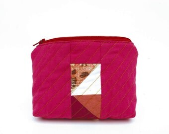 Quilted Zipper Pouch / Recycled & Patchworked Vintage Cotton READY TO SHIP