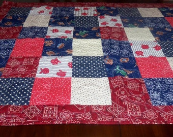 Western Style, Lap Quilt, Americana Patriotic, Wheelchair Blanket, Sale Priced, Table Topper, Machine Quilted, 37x47 inches