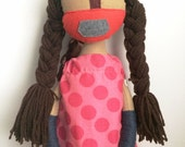 "Handmade Soft Cloth Doll ""Savannah"", Multicultural Doll, Mixed Media Cloth Doll"
